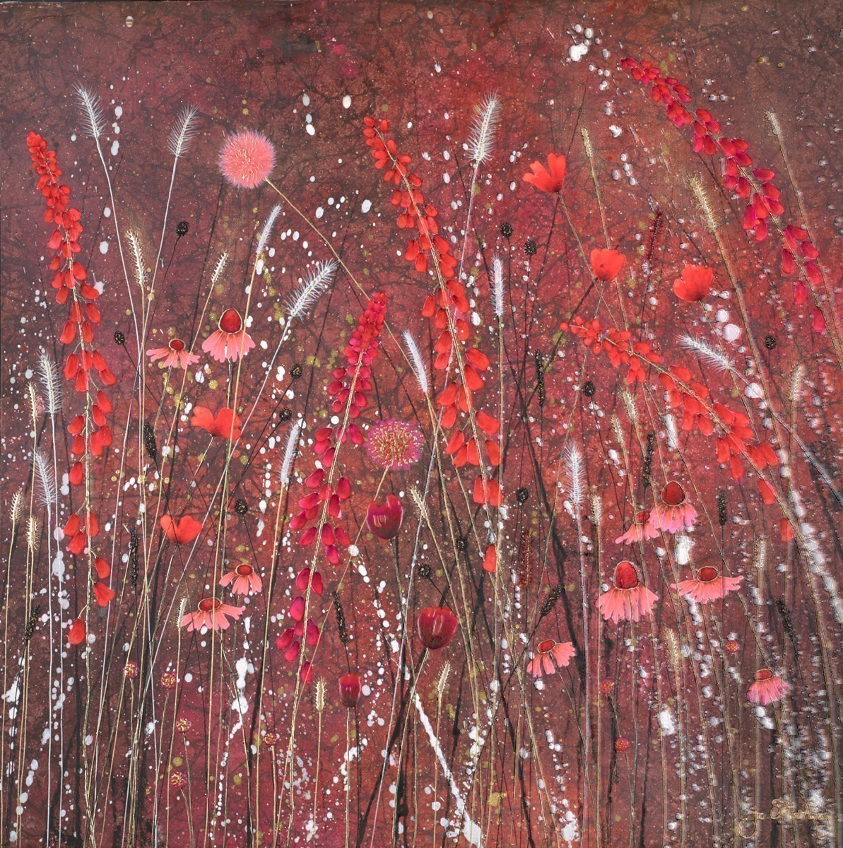 Floral Flame by Jo Starkey -  sized 28x28 inches. Available from Whitewall Galleries